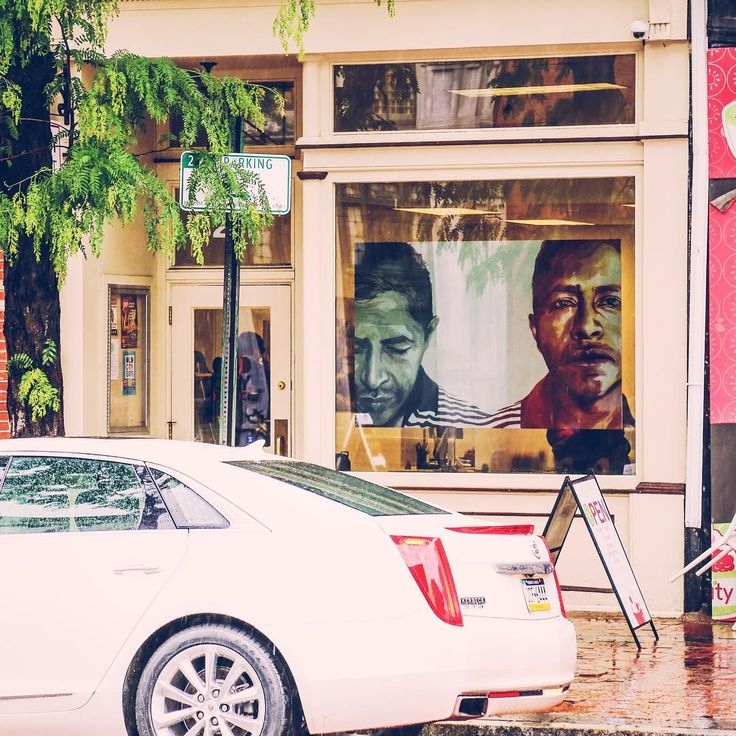 """@michelleangelaortiz's installation for #RevolutionaryArt can be found at @oldcityphilly: """"The portraits are stills from a video interview of community member, Cruz. Cruz lives in Philadelphia and shared his experience with ICE (Immigration and Customs Enforcement) and almost being deported. He spoke about his year long struggle with wearing a probation bracelet, being intimidated by ICE agents, and living in fear in what was once for him a city of hope."""" Learn more about our…"""