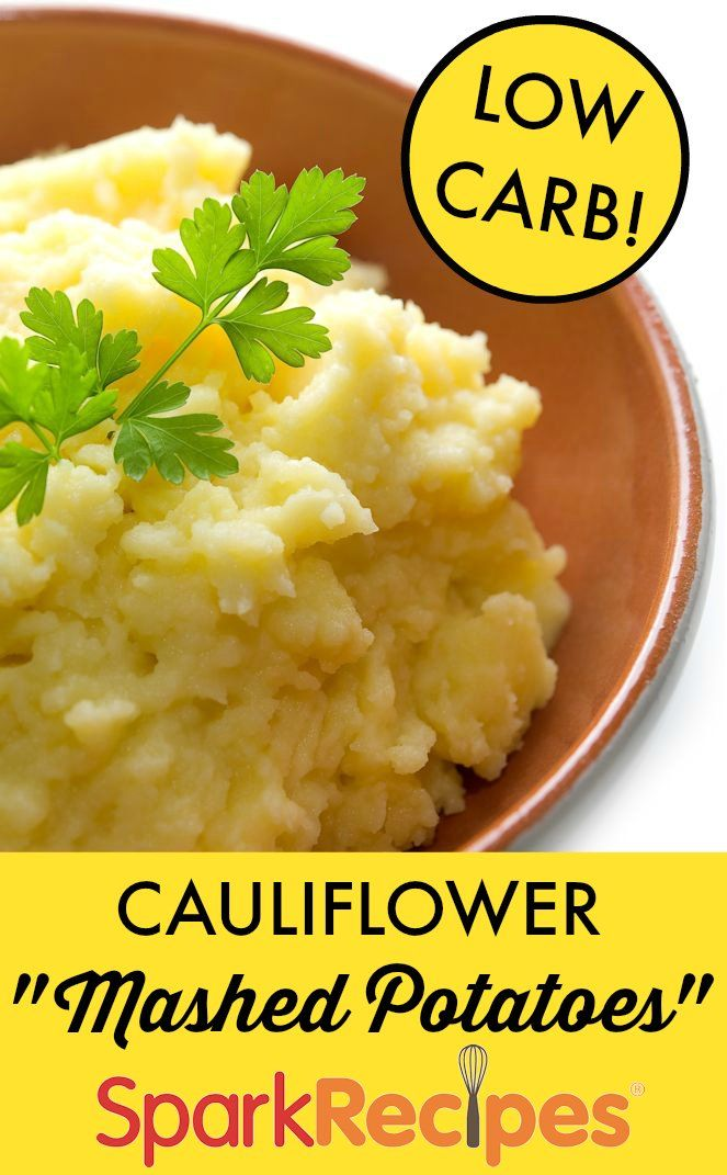 "Cauliflower ""Mashed Potatoes"". Made this two times now and my hubby begs for it once a wk now. I added half a cup of non fat cottage cheese, use non fat sour cream and non fat cream cheese and blend the mixture in a blender. sprinkled with a tiny bit cheese. Turns out fantastic! 
