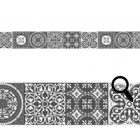 Frise carreaux de ciment - frise adhésive repositionnable carreaux de ciment gris finition textile mat