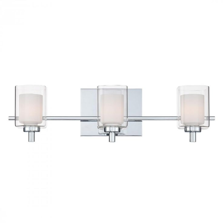 18 best bathroom lighting fixtures images on pinterest light quoizel three light polished chrome outer clear and heavy sand blasted glass vanity www aloadofball Image collections