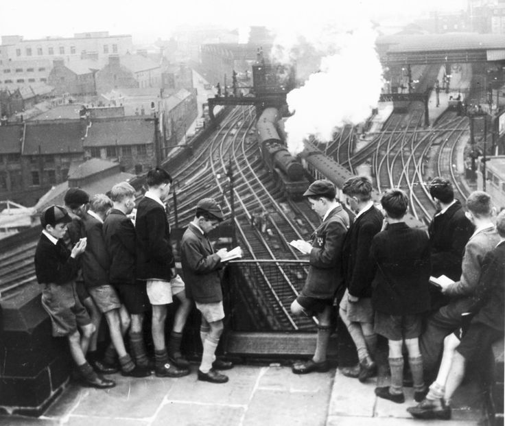Schoolboy train-spotters at Newcastle station 1950 ~ brings back memories of my time as a boy :)