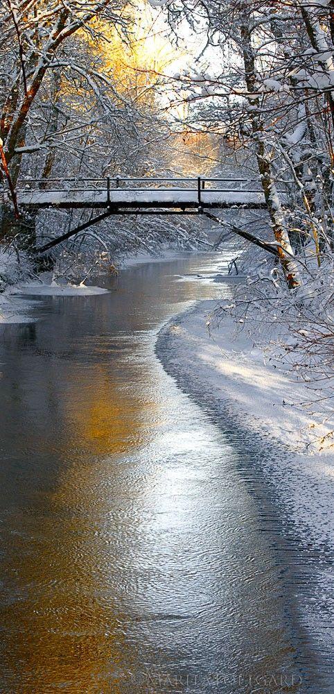 Romantic bridge in winter, Sweden.