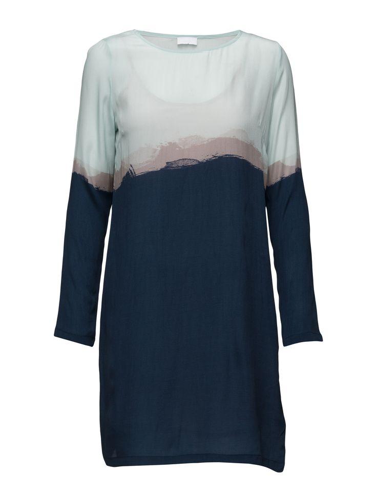 DAY - 2ND Rothko Printed Colour blocking Inner lining Long sleeves Shift style Chic Elegant Modern Dress Dresses