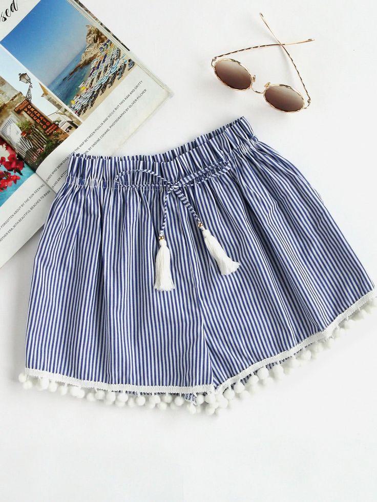 Shop Vertical Striped Drawstring Waist Pompom Hem Shorts online. SheIn offers Vertical Striped Drawstring Waist Pompom Hem Shorts & more to fit your fashionable needs.