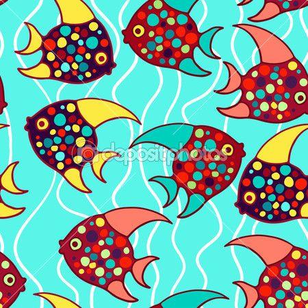 Бесшовные векторные красочные рыбы — стоковая иллюстрация #38092579