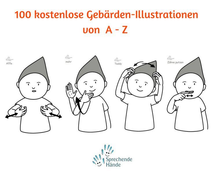 kostenlose Gebärden Illustrationen Kindergebärden Babyzeichen Babyzeichensprache Babygebärden