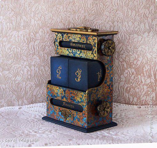 Декор предметов Декупаж Большой настольный вечный календарь Королевский синий Бумага Дерево фото 2