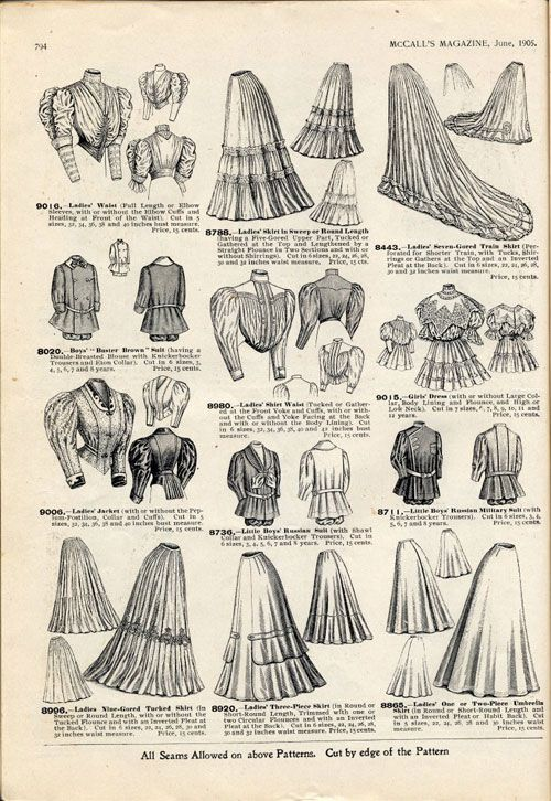 "Fashion in the period 1900-1909 in European and European-influenced countries continued the long elegant lines of the 1890s. Tall, stiff collars characterize the period, as do women's broad hats and full ""Gibson girl"" hairstyles – Londonderry sleeves but not her pants"