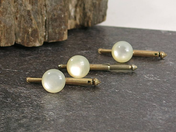 Vintage Faux Pearl Tuxedo Studs - Faux Pearl Shirt Studs - Vintage Tuxedo Studs - Grooms Men's Mother of Pearl Style Evening Accessories by EightMileVintage on Etsy