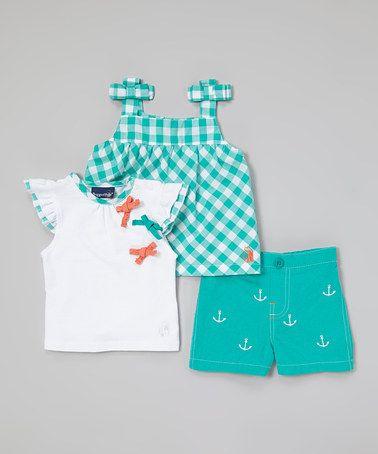Look at this #zulilyfind! Aqua Anchor Shorts Set - Infant #zulilyfinds
