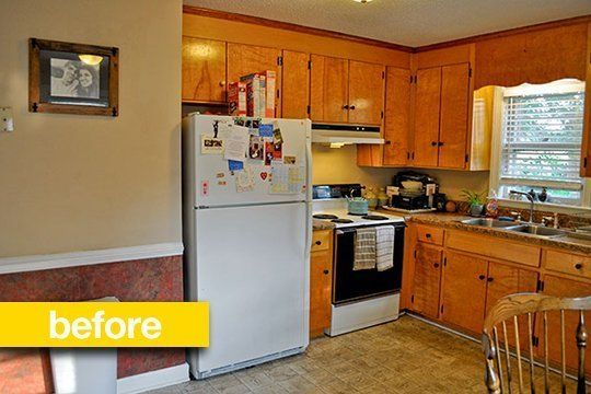 ~The couples' picture:  Kitchen Before & After: A Super Budget Kitchen Makeover For $500 — Kitchen Remodel