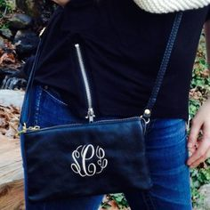 "This personalized monogrammed clutch by I Flew the Nest takes your blue jeans and t-shirt and makes them anything but basic – WOW! This is a hot item for the season! Every girl must have it for the day and as an add on for her little black dress – it is THE ""little black purse""! It is then made breathtaking with your monogram! This bag can be used as a wallet, (we keep our essentials in here so when we don't want to tote our purses around we can just grab the wristlet and go), a clutch or a…"