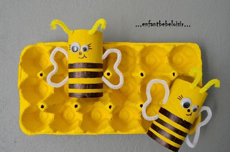 """Suite à notre sortie cinéma voir """" Maya l'abeille """" nous avons lancé le thème des abeilles pour apprendre à connaître un peu mieux cet insecte! Et comme nous aimons créer à moindre coût tout en recyclant nos déchets, nous avons fabriqués une ruche avec..."""