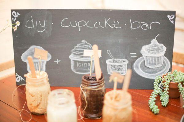 diy.cupcake.bar. Love the frosting in mason jars. @Stephanie Bookout-Gordon for Skyler's b-day??