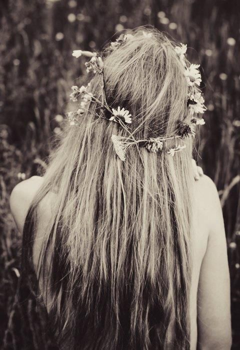 Hippie hair with flowers