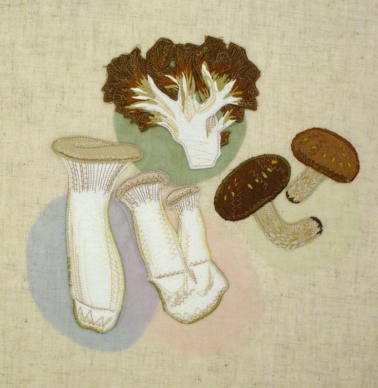 """mashrooms""  needlework illustration Ⓒ Nagako Ono HAPPa_Ya #embroidery #vegetables"