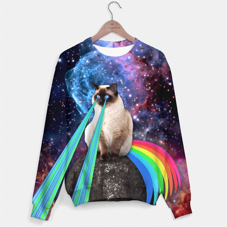 SIAMESE LASER CAT Sweater, Live Heroes