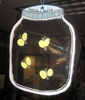 zomer - vuurvliegjes (duimafdrukken met glow in the dark verf)