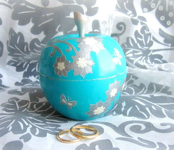 Ring bearer box wood apple box wooden ring box turquoise