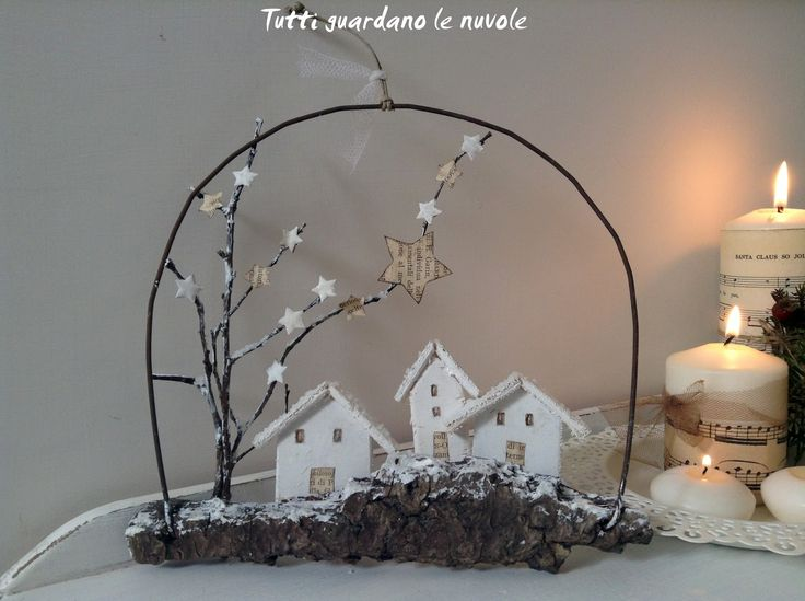 Bark, wire, small houses made with scraps of plywood, (or cardboard)  dry twigs, scraps of paper and some grains of salt or epsom salts for the snow.