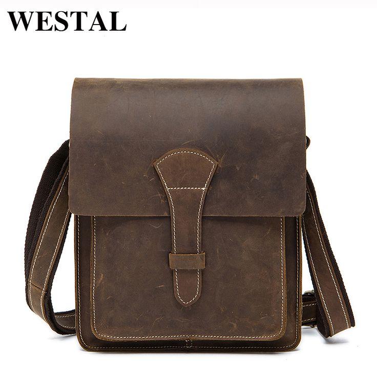 WESTAL Crazy Horse Genuine Leather Men Bag Vintage Male Small Men Shoulder Messenger Bags Small Crossbody Bags Messenger Bag