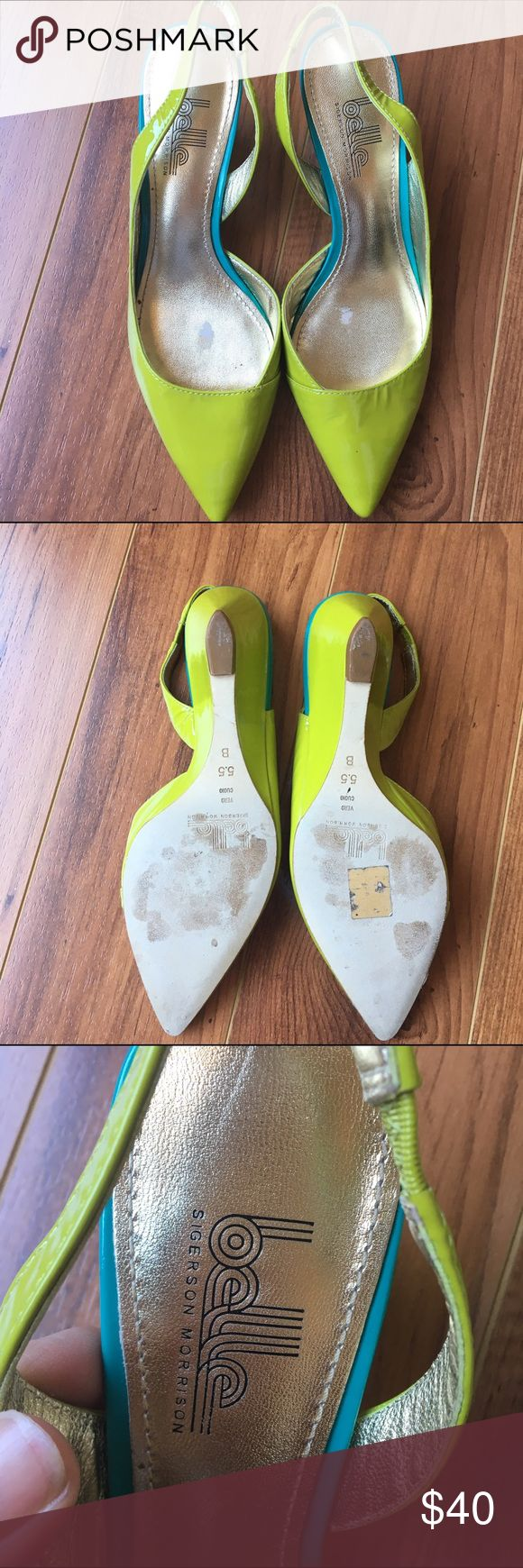 "BELLE Sigerson Morrison Lime Green Pump Size 5.5 Great condition! 2"" heel Belle by Sigerson Morrison Shoes Heels"