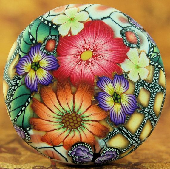 Polymer Clay Smooth Circle Focal Bead by ikandiclay on Etsy