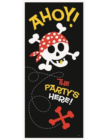 Pirate Door Poster 'AHOY' and 'The Party's Here' -  Ideal decoration for any pirate party. Perfect for a children's birthday party.