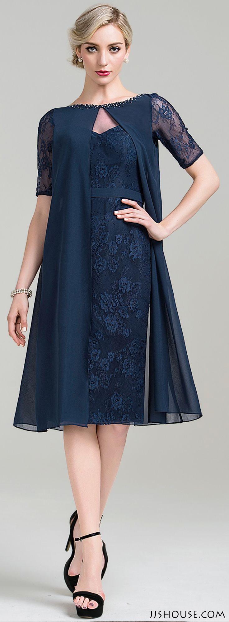 Sheath/Column Scoop Neck Knee-Length Chiffon Lace Mother of the Bride Dress With…