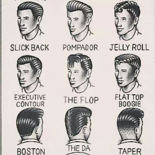 Different 50s style hair for men.