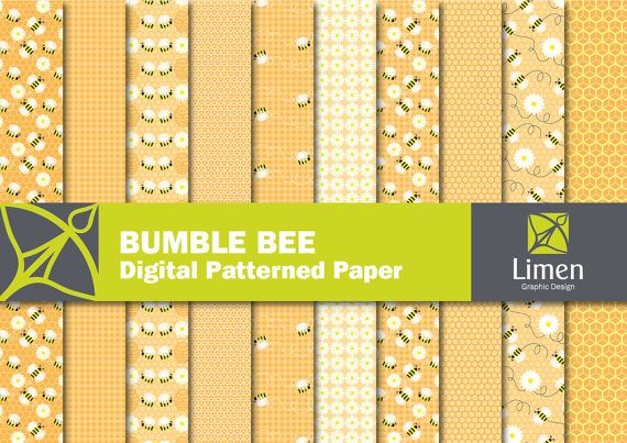 Bumble Bee Digital Paper Pack Bee Scrapbook Paper by limen on Etsy