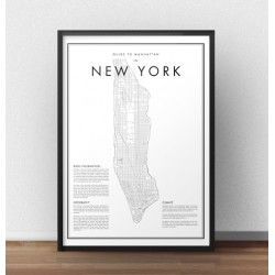 """Plakat """"Mapa Manhattanu w Nowym Jorku"""""""