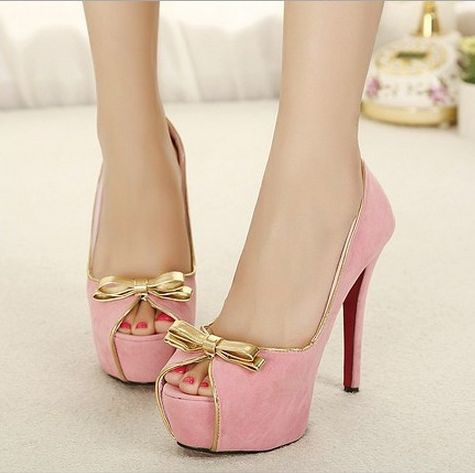 Kode : AWF-361, Nama : Soft Pink & Gold Bow Fashion Heels, Price : IDR 175
