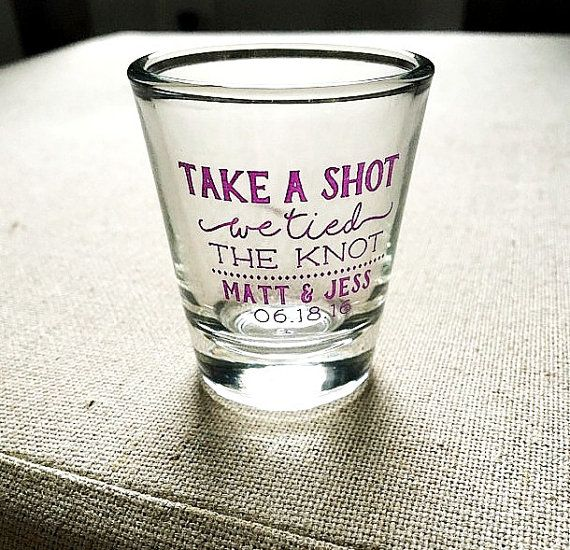 Take a Shot Shot Glass Wedding Favors Personalized Shot Glasses We Tied the Knot Shot Glass Wedding Shot Glass Custom Shot Glass 1446 by SipHipHooray