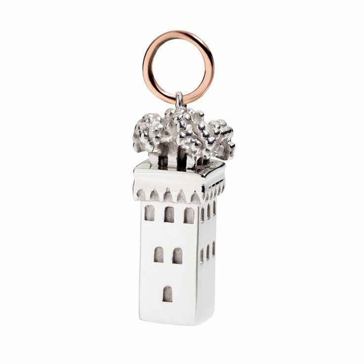 Argento e oro rosa 9k  civita queriot silver rose gold necklace women fashion regalo componibile charms tower