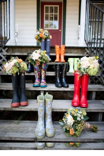Rain boots and Flowers... would be a good photo op with any bride party shoes.. staggered like this