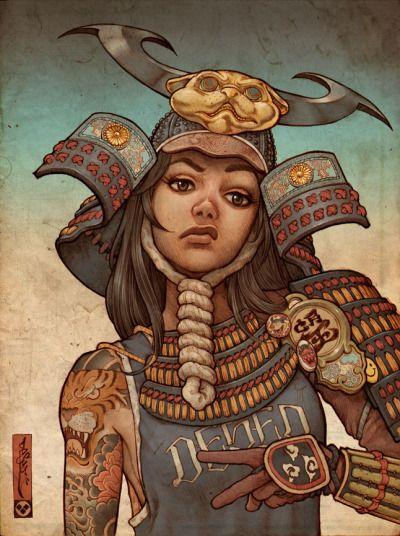"deseo1: ""Finished my newest samurai pinup. #samurai #samurai girl #pinup #anime #manga #drawing #deseo """
