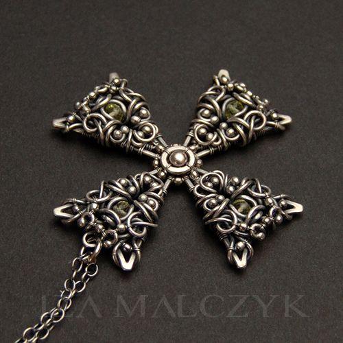 Pendant | Iza Malczyk. 'Maltese Cross' Sterling silver and lemon quartz.