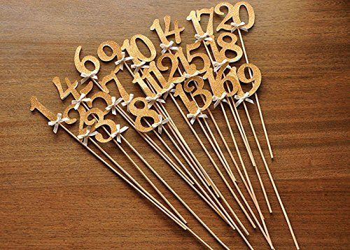 Table Numbers on Sticks. Glitter Number Centerpiece. Numbers 1-20 with Ivory Bows. * More info could be found at the image url.