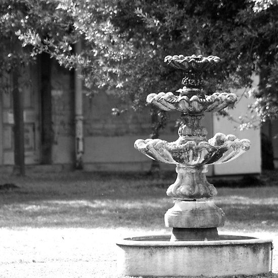 Elegant fountain in black and white, photographed  in the grounds of the old Beechworth Lunatic Asylum. Vic. Australia. Quite a spooky place to visit.