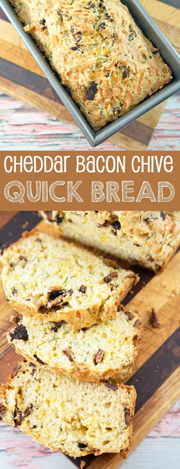Bacon Cheddar Chive Bread: an easy quick bread, full of smoky bacon, grated cheddar, and fresh chives. {Bunsen Burner Bakery}