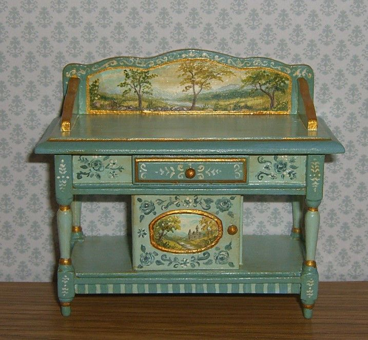 Dollhouse Miniature Hand Painted Buffet Console Table with Landscapes L.Lassige