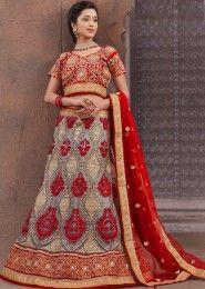 Luxurious Red Net Bridal Wear Lehenga Choli