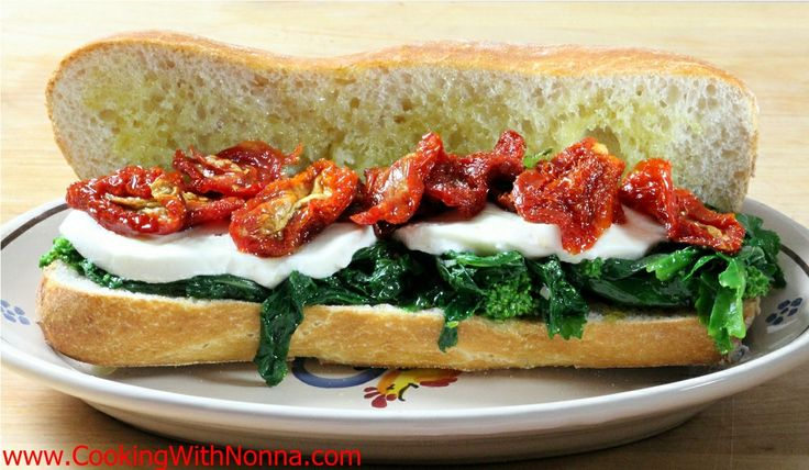 Broccoli Rabe, Mozza and Sun Dried Tomatoes Sandwich - See more at: http://www.cookingwithnonna.com/italian-cuisine/broccoli-rabe-mozza-and-tomato-hero.html#sthash.eAj8qSXp.dpuf