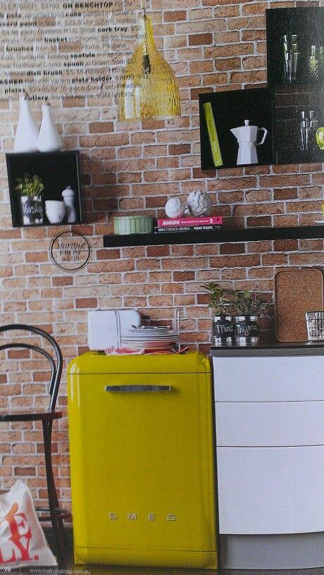 Kitchen. Colour. Brick.