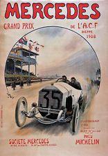 AV83 Vintage 1908 Mercedes Grand Prix Racing Advertisement Poster Re-print A4