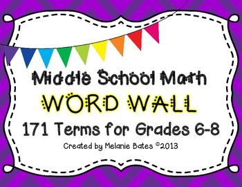 Math Vocabulary Word Wall Grades 6th-8th {back to school}.  171 Terms for Middle School Math!  These are very versatile and can be printed 1 per sheet or 4 or 6 per sheet.  The could be posted around the classroom or they could be used to created intervention cards for struggling students.