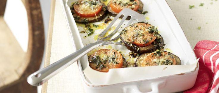 Überbackene Auberginen-Tomaten-Scheiben