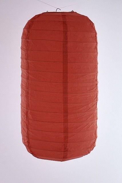 Lanterna di carta di riso da appendere Tubolare, colore Rossa. Diametro 30 cm, altezza 48 cm con gancio.