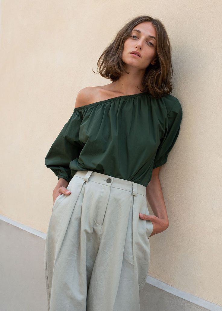 Pine Green Off-the-Shoulder Top with Puff Sleeves